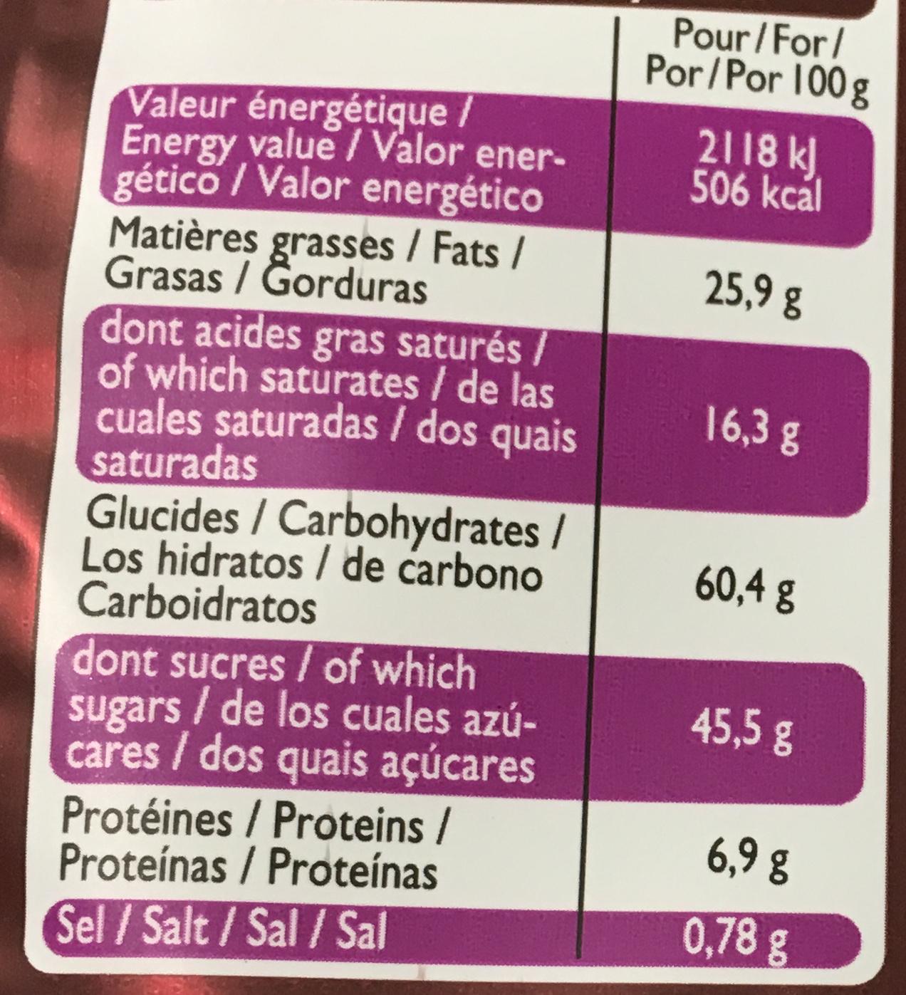 Mini roses des Sables - Informations nutritionnelles