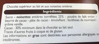 Chocolat au lait noisettes entières - Ingredients