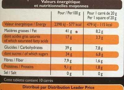 Chocolat Noir aux Noisettes - Nutrition facts