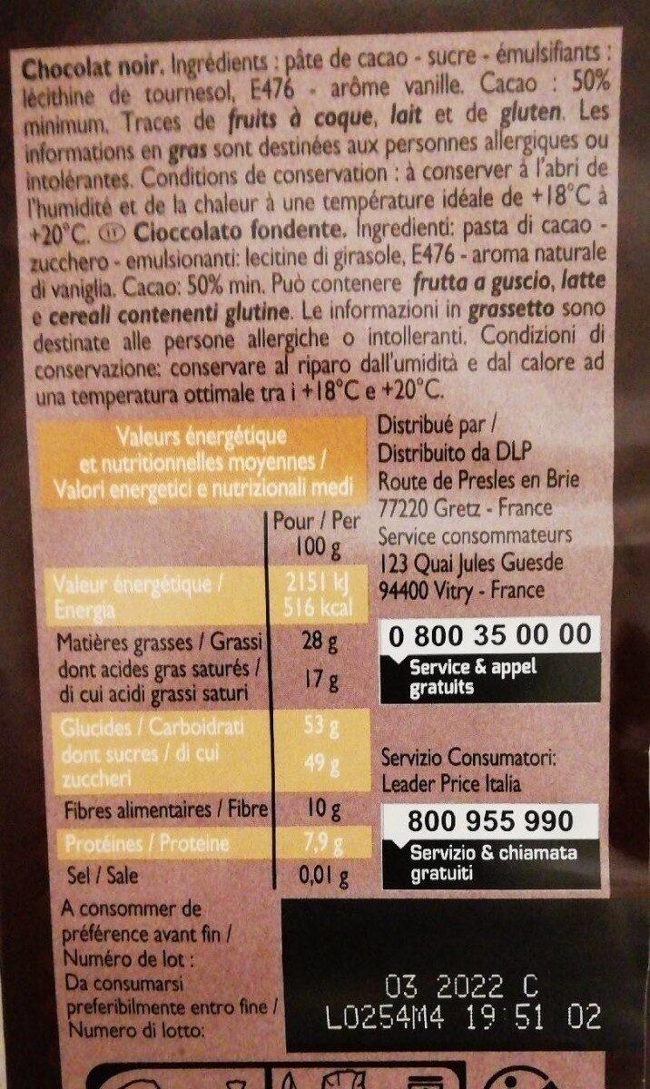 Chocolat noir 50% de cacao - Valori nutrizionali - fr
