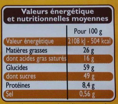 Chocolat au Lait aux Céréales Croustillantes - Nutrition facts