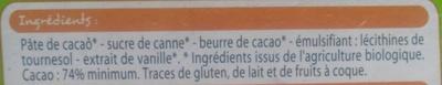 Chocolat noir 74% de cacao - Ingrédients - fr