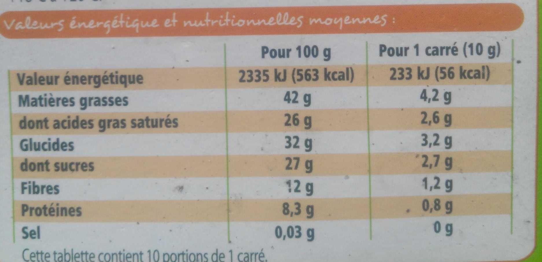 Chocolat noir 74% de cacao bio - Voedigswaarden