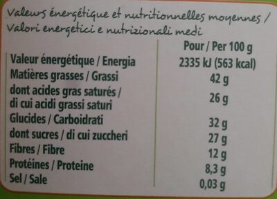 Chocolat noir 74% de cacao - Informations nutritionnelles - fr
