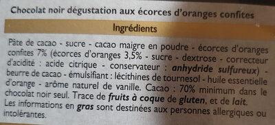 Chocolat noir dégustation ecorces d'orange - Ingrediënten - fr