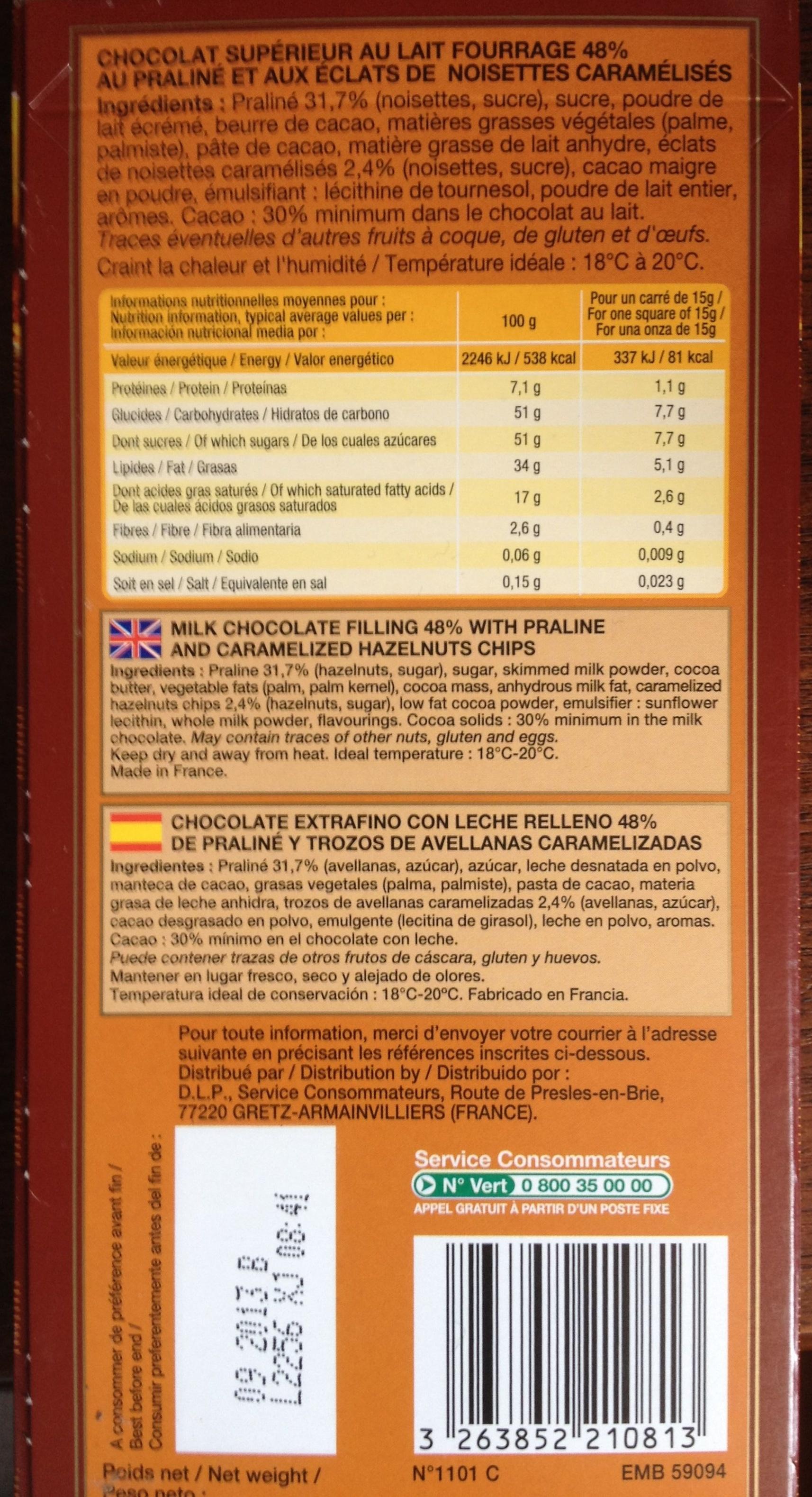 Chocolat au Lait Praliné et Noisettes - Product