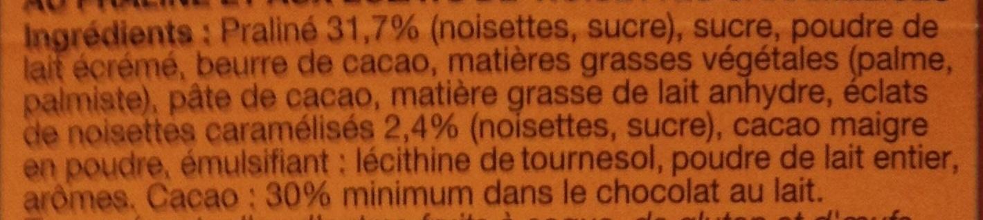 Chocolat au Lait Praliné et Noisettes - Ingredients