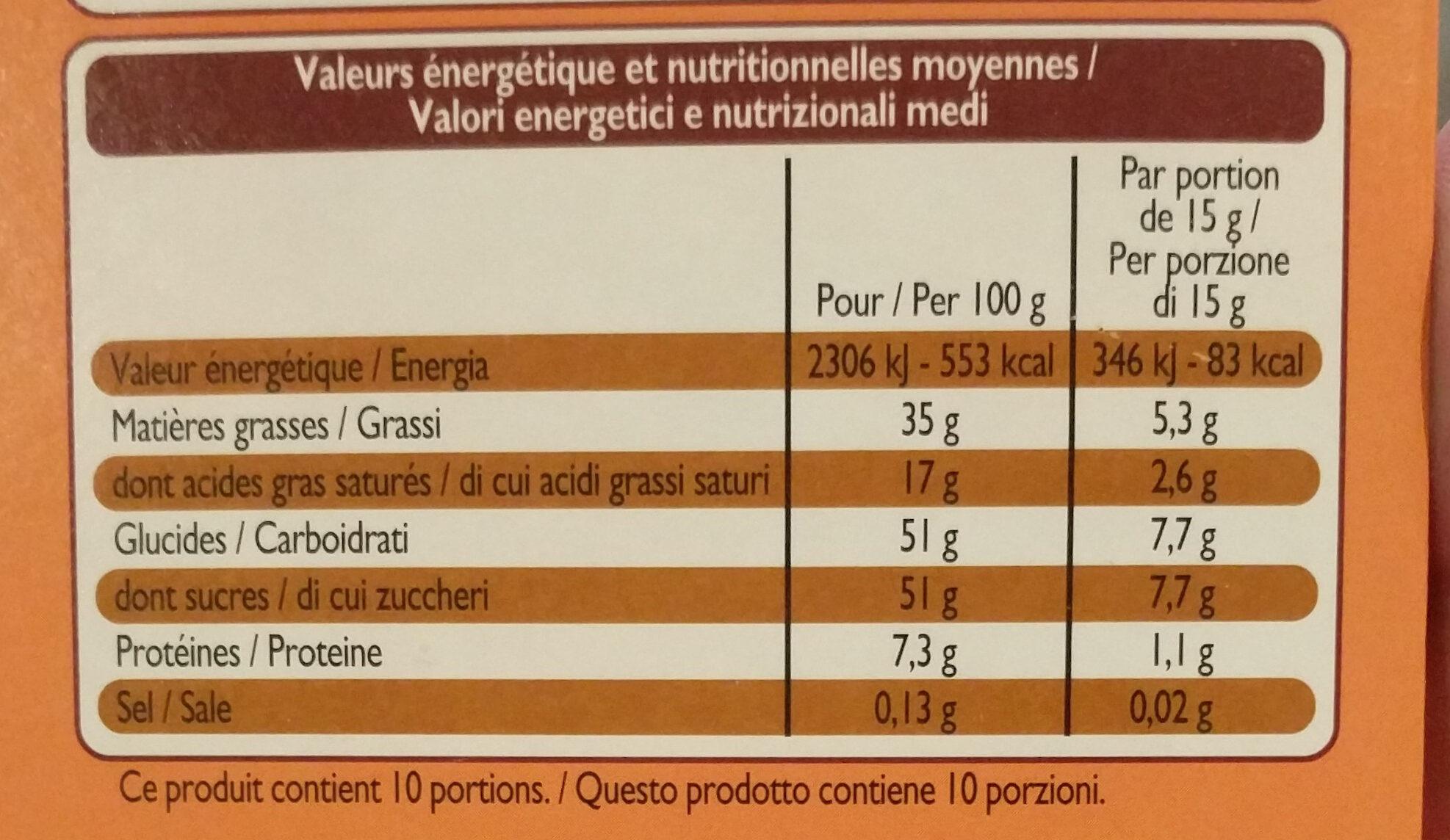 Chocolat au Lait Praliné et Noisettes - Voedingswaarden - fr