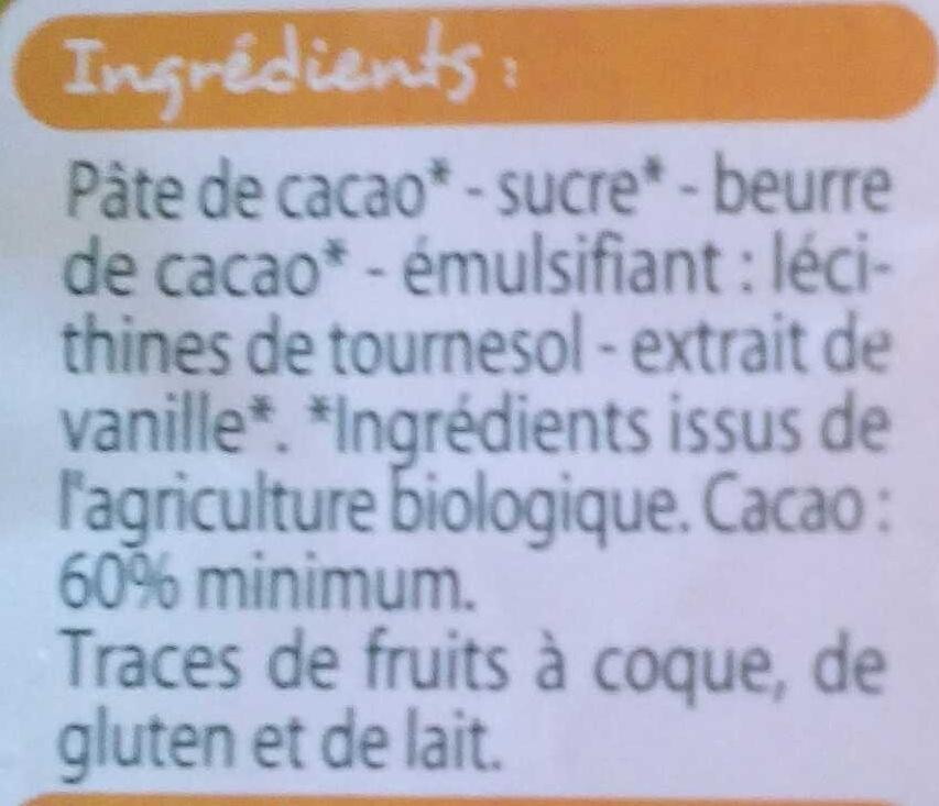 Chocolat dessert bio - Ingredients - fr