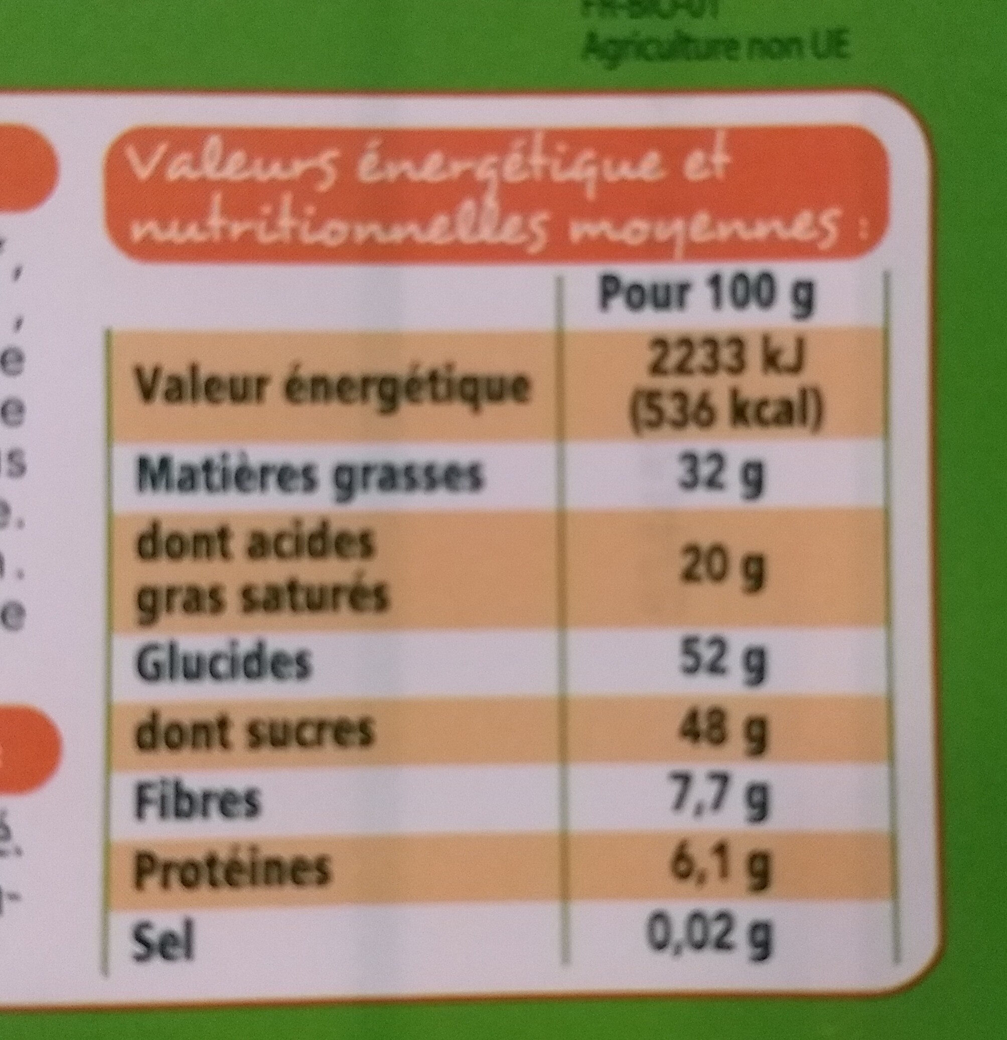 Chocolat dessert bio - Nutrition facts - fr