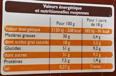 Chocolat au Lait aux Éclats de Speculoos - Voedingswaarden - fr