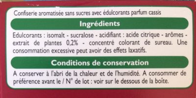 Bonbons goût cassis menthol - Ingrédients - fr