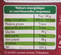 Bonbons goût cassis menthol - Informations nutritionnelles - fr