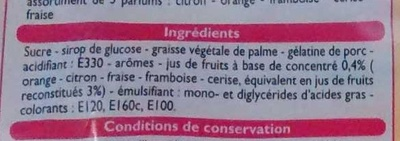 Bonbons tendres aux jus de fruits - Ingrediënten - fr