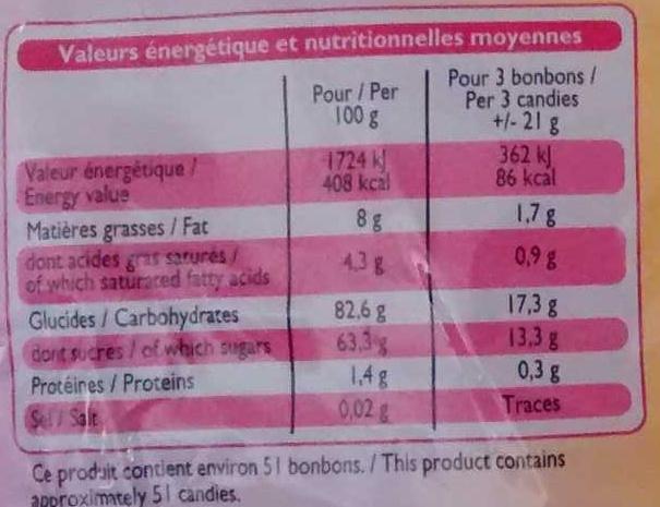 Bonbons tendres aux jus de fruits - Voedingswaarden - fr