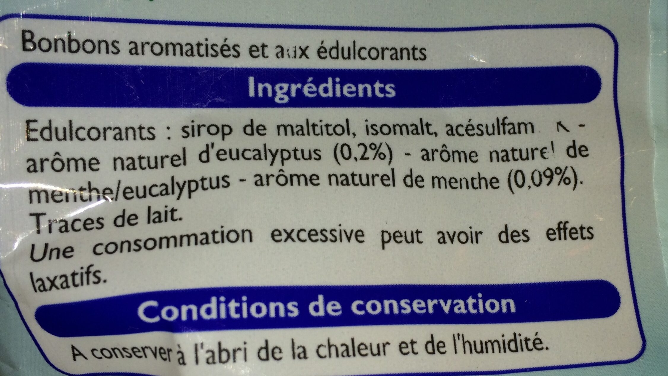 Bonbons Sans Sucres Eucalyptus Mentol - Ingrediënten