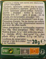 Chewing-gum Chlorophylle - Ingredients - fr