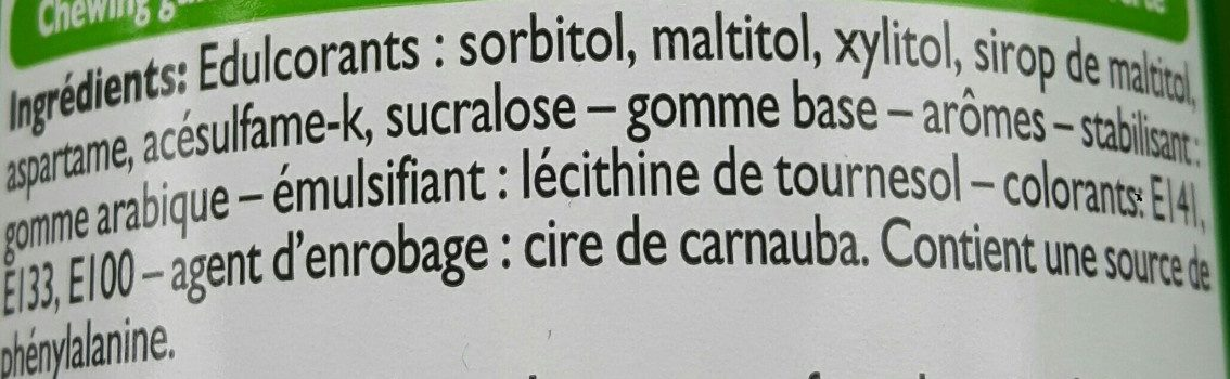 Chewing gum chlorophylle - Ingrédients - fr