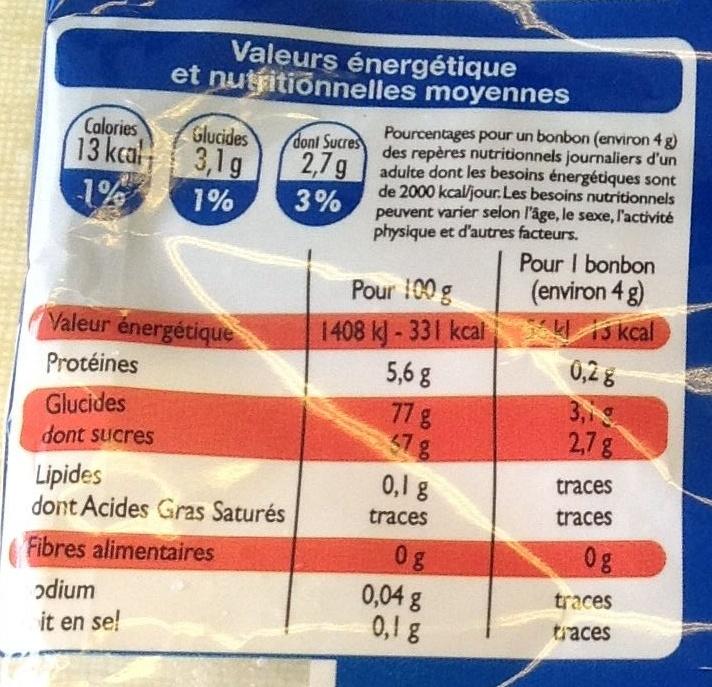 Colas - Voedingswaarden - fr