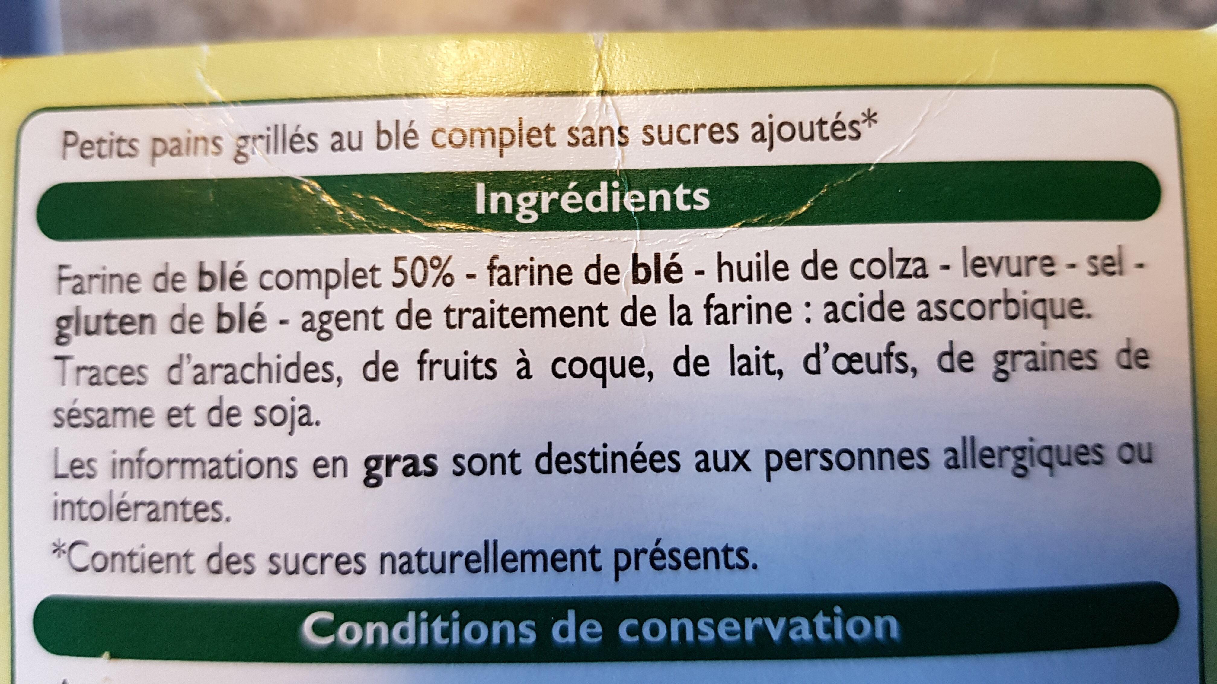 petits pains grillés au blé complet sans sucres ajoutés - Ingrediënten - fr