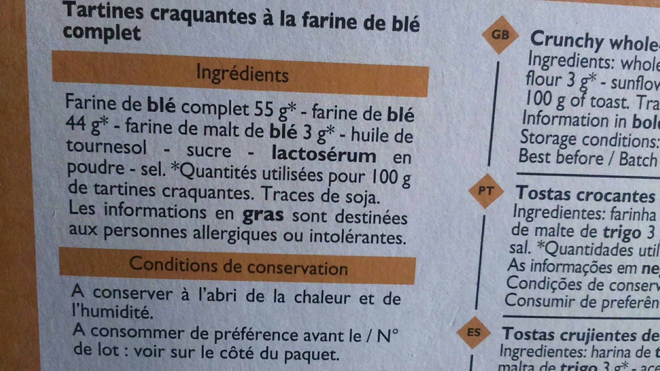 Tartine croquantes au blé complet - Ingrédients - fr