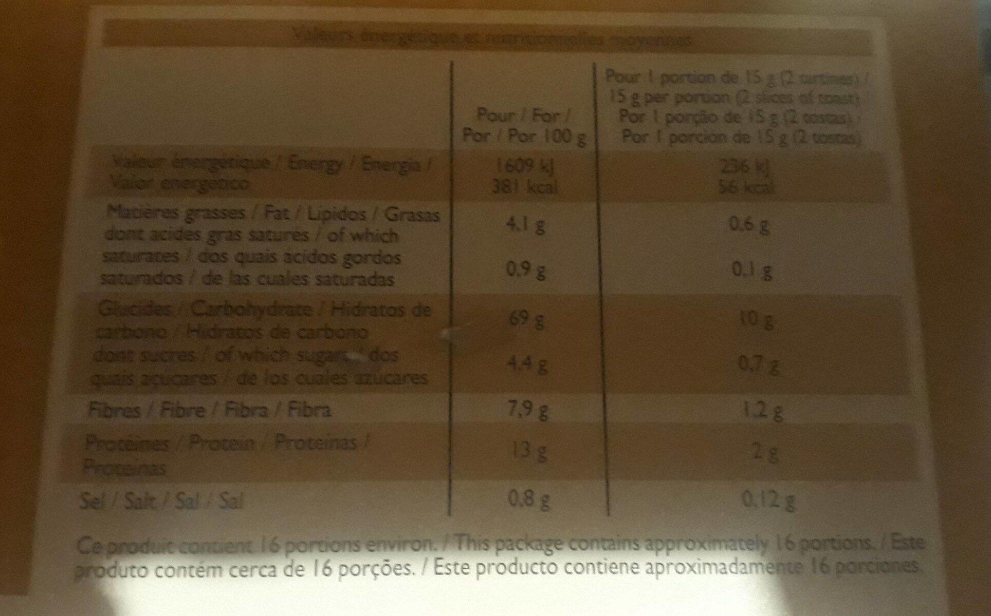 Tartine croquantes au blé complet - Informations nutritionnelles - fr
