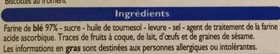 Biscottes au froment - Ingredientes
