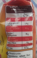 Chapelure extra-fine - Informations nutritionnelles
