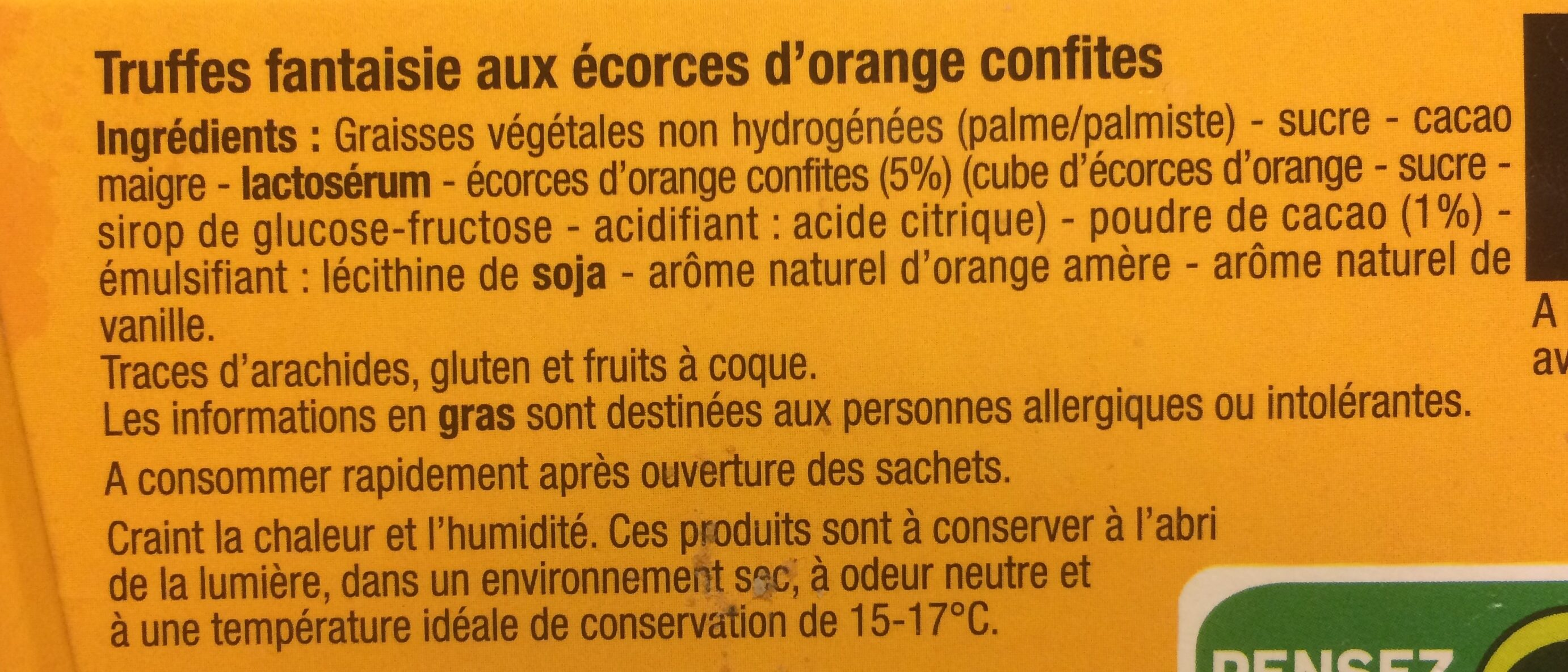 Truffes ecorces d'orange - Ingredients
