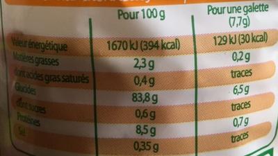Galettes de riz complet - Voedigswaarden