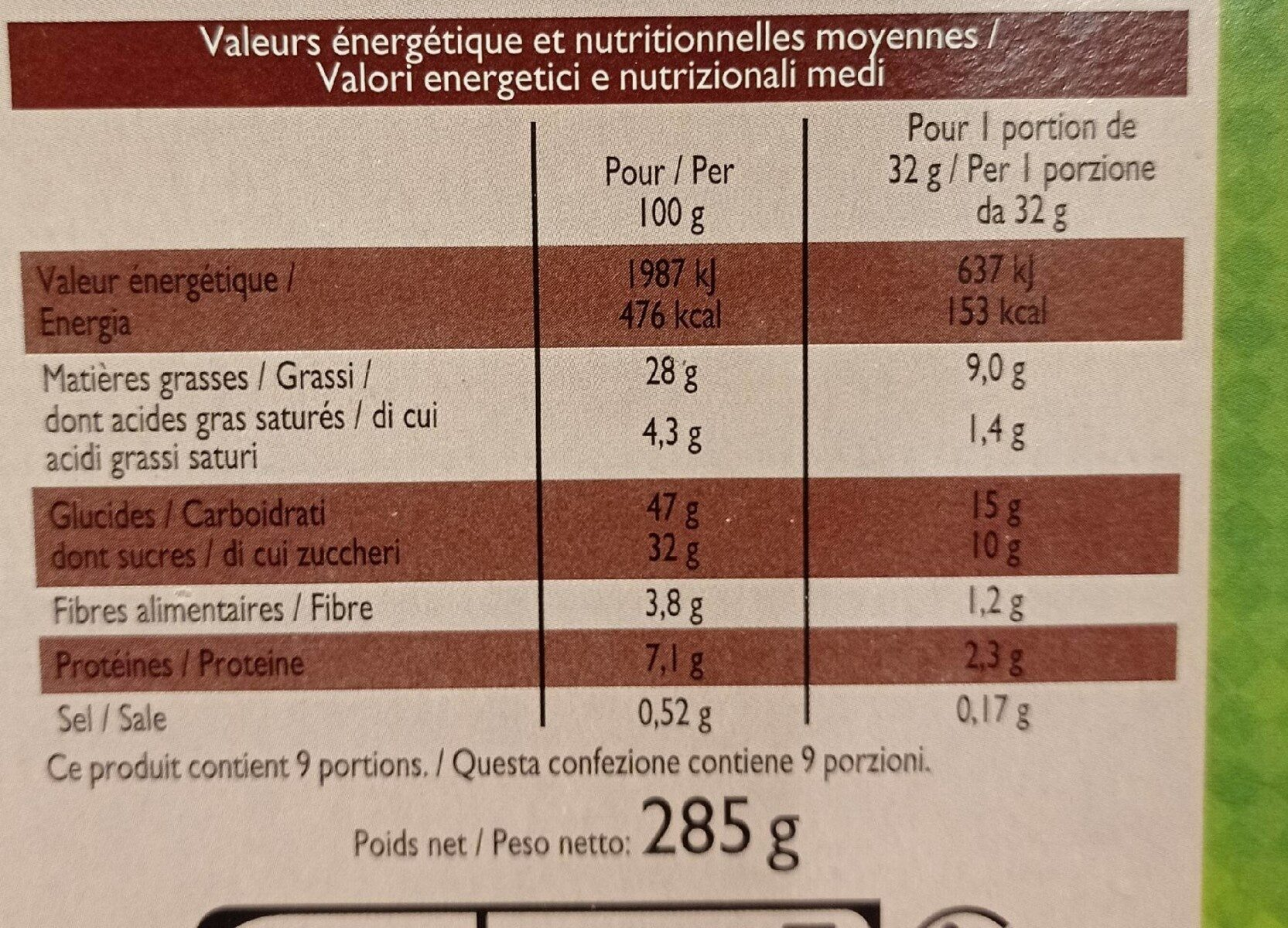 Brownie aux éclats de noisette - Informations nutritionnelles - fr