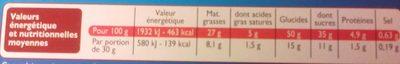 Brownie aux pépites de chocolat - Información nutricional - fr