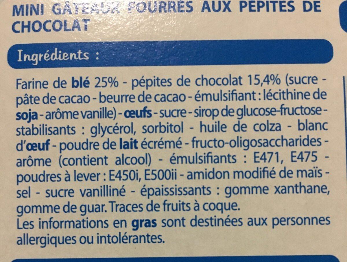 Fine Ligne Mini-moelleux Pépites De Chocolat 5 Sachets - Ingrediënten - fr