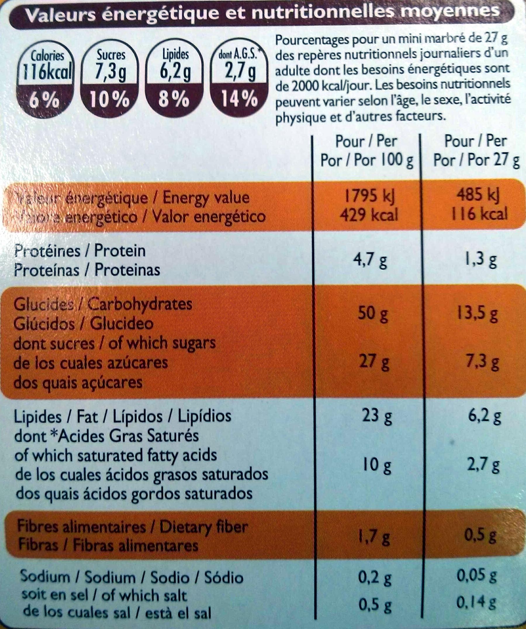 Mini marbré au chocolat - Voedingswaarden