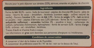 Biscuits P'tit Déj Abricots, Amandes et Pépites de chocolat - Ingrédients - fr