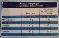 P'tit Sacripant - Barres chocolat au lait - Nutrition facts - fr