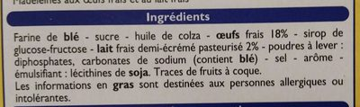 Madeleines aux Oeufs - Ingredients