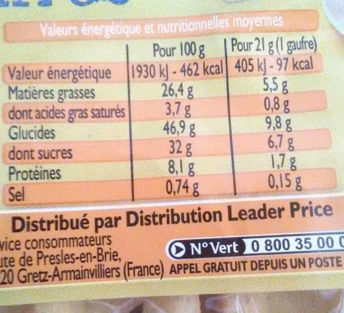 12 mini gaufres - Informations nutritionnelles