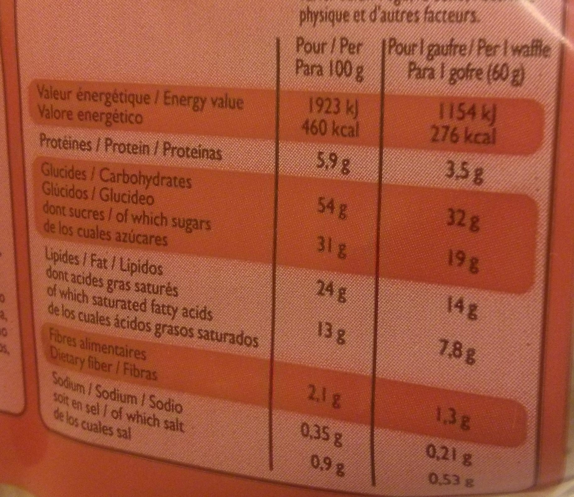 5 gaufres liégeoises - Informations nutritionnelles