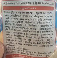 Muffins parfum Vanille aux pépites de chocolat - Ingrédients