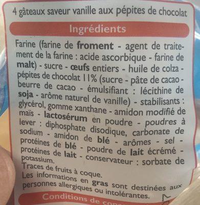 Muffins parfum Vanille aux pépites de chocolat - Ingrediënten