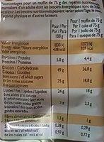 Muffins parfum Vanille aux pépites de chocolat - Informations nutritionnelles