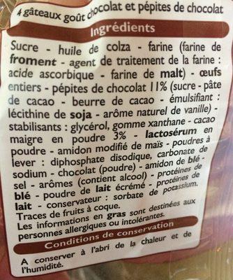 Muffins goût Chocolat aux pépites de chocolat - Ingrédients