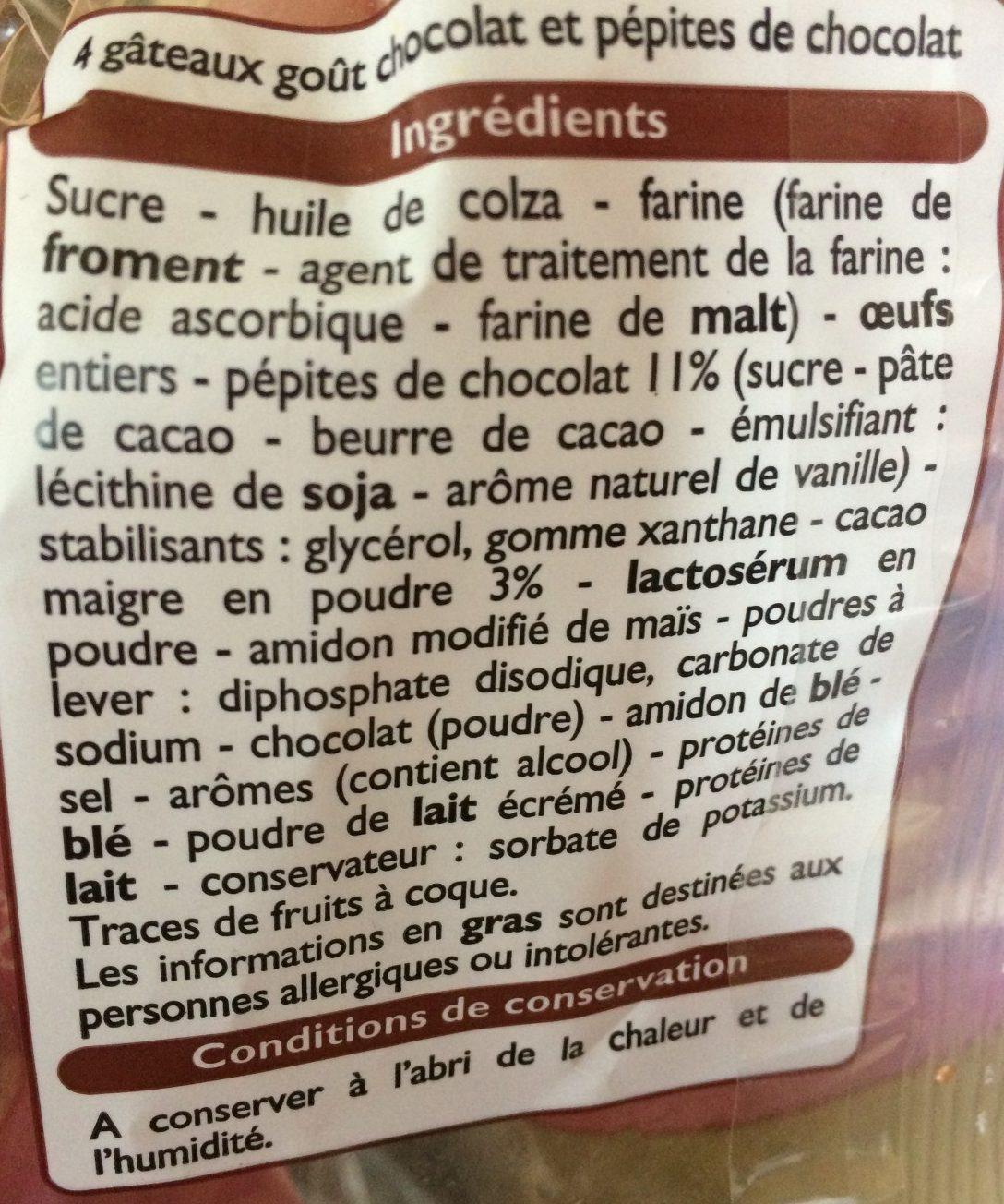 Muffins goût Chocolat aux pépites de chocolat - Ingredients - fr