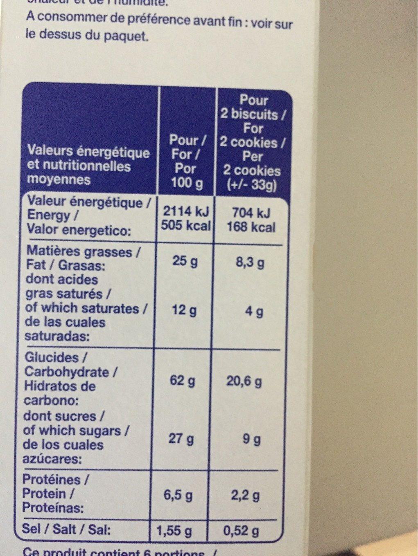 Cookies nougatine - Informations nutritionnelles - fr