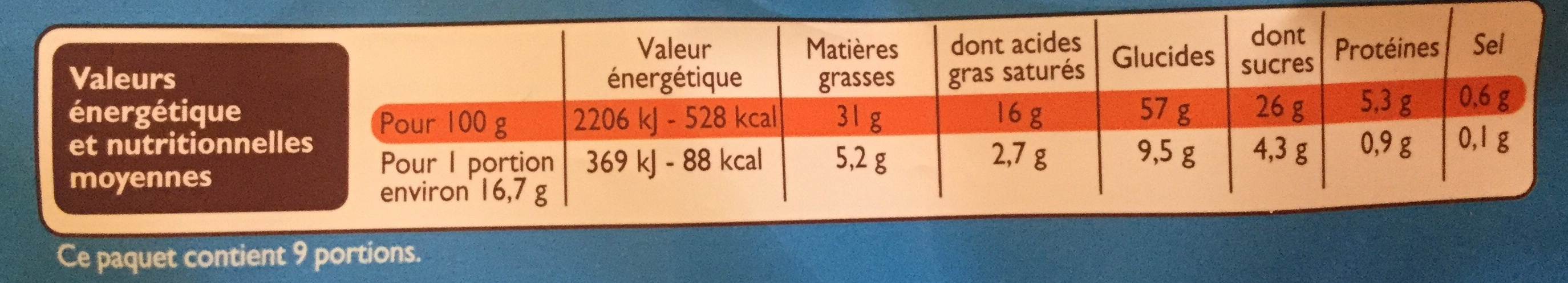 Sprits chocolat au lait - Nutrition facts - fr