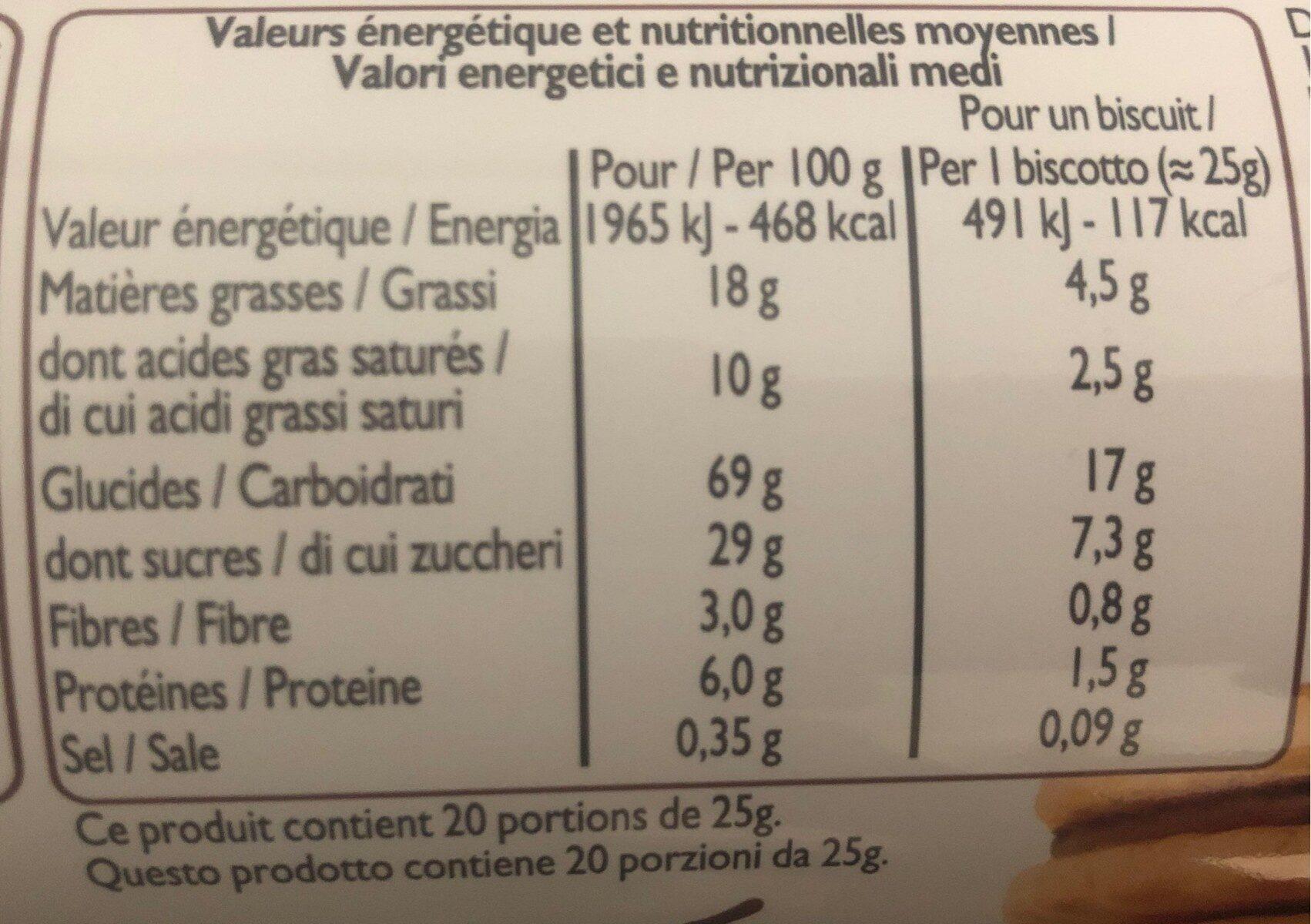 Biscuits Fourrés Goût Chocolat - Voedingswaarden - fr