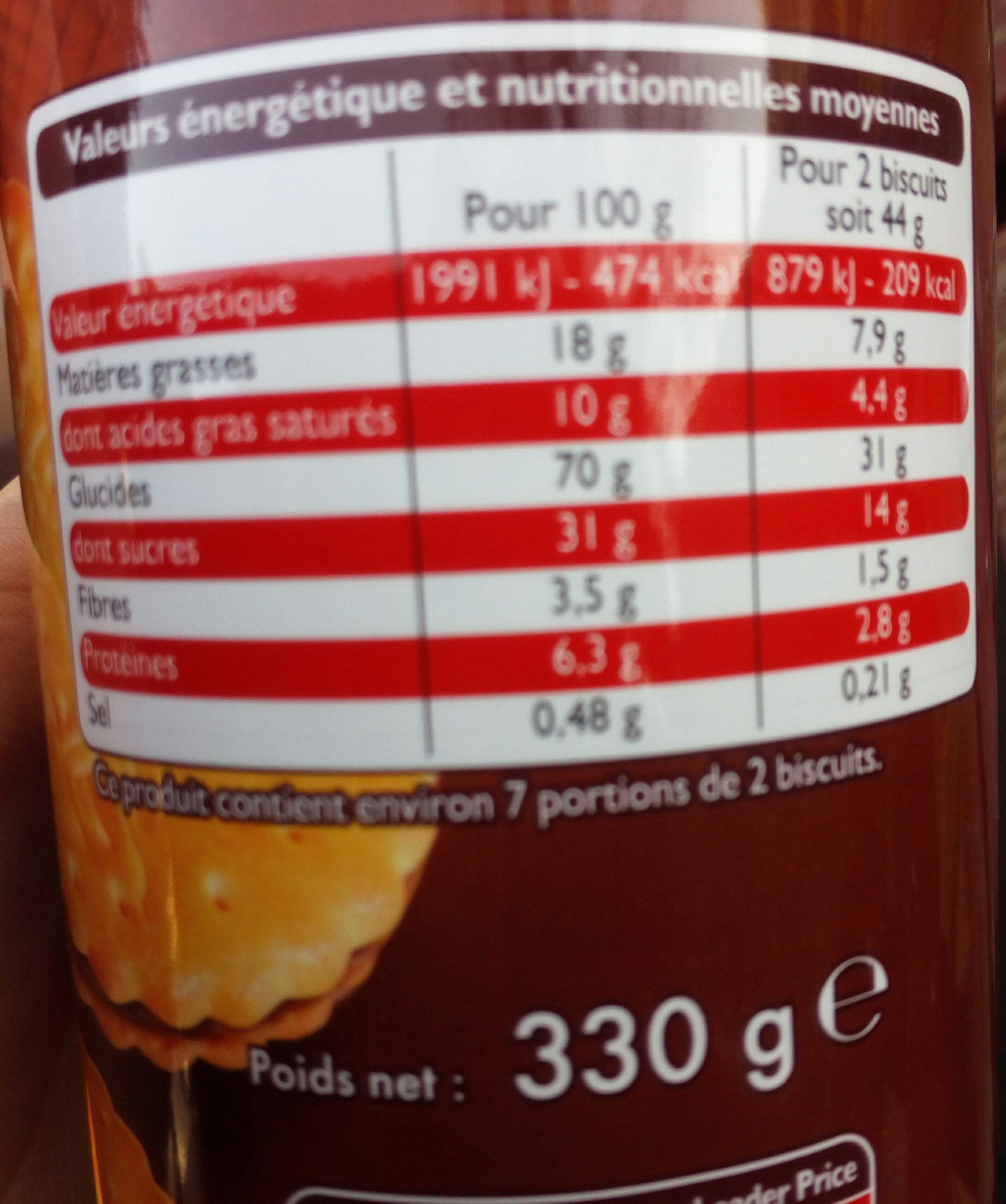 Royal Biscuit Goût Chocolat - Nutrition facts - fr