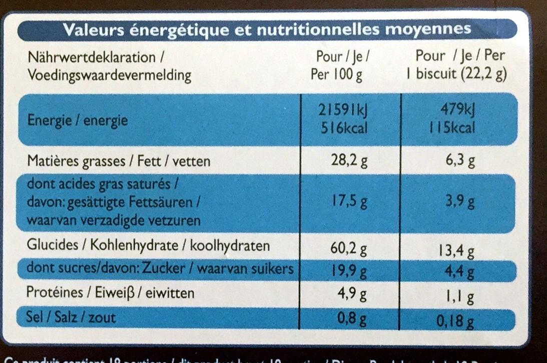 Sprits - Sablés au beurre - Valori nutrizionali - fr