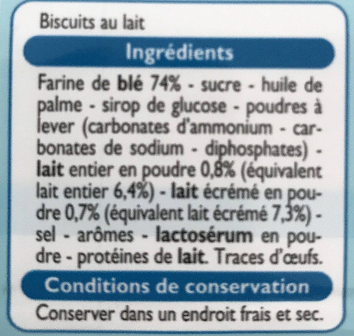 Petit Lait - Ingrédients - fr
